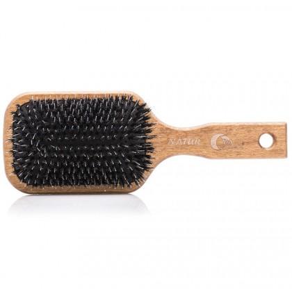 Drewniana szczotka z naturalnego włosia z rozczesywaczem, duża